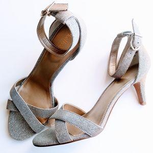 Silver Sparkly Sandals Heel Buckle Strappy 8